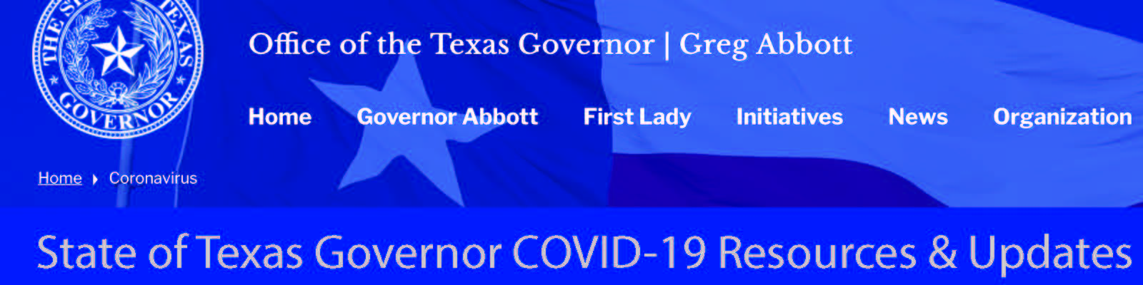Texas Governor's COVID-19 Resources & Updates Header Image