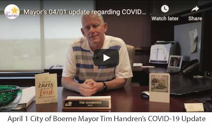 April 1 City of Boerne Mayor Tim Handren's COVID-19 Update Image