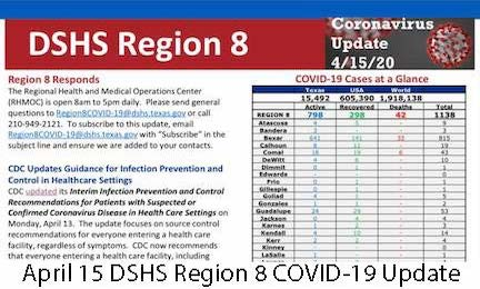 April 15 DSHS Region 8 COVID-19 Update