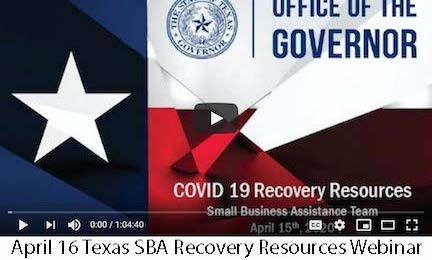 April 16 Texas SBA Recovery Resources Webinar