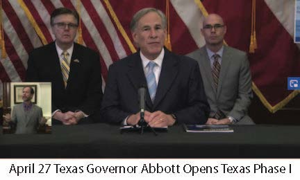 April 27 Texas Governor Abbott Opens TX Phase 1
