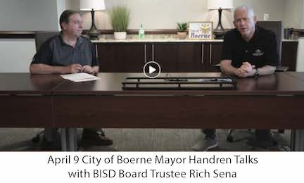 April 9 City of Boerne Mayor with BISD Board Trustee Rich Sena