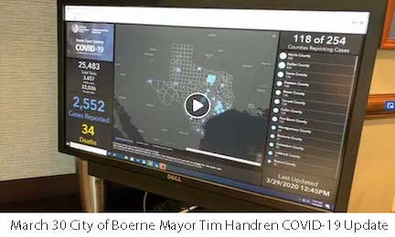 March 30 City of Boerne Mayor Tim Handren COVID-19 Update