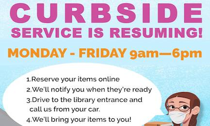 May 5 Boerne Public Library Curbside Service Returning Header